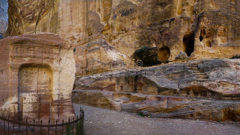 A place for sacrifices in Ravine As Siq. A place for sacrifices in Ravine of ancient Petra, Jordan stock image