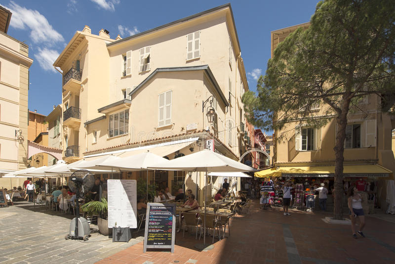 Place Saint Nicolas, Monaco. Place Saint Nicolas square in Monaco City district, Monaco. Monaco is a sovereign city-state and microstate, located on the French stock photography