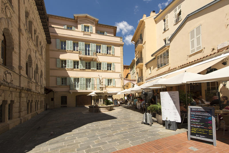 Place Saint Nicolas, Monaco. Place Saint Nicolas square in Monaco City district, Monaco. Monaco is a sovereign city-state and microstate, located on the French royalty free stock images