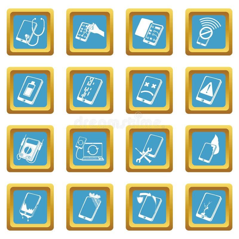 Place saphirine réglée par icônes de difficulté de téléphones de réparation illustration libre de droits