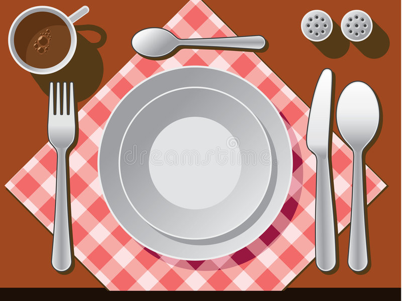 Place setting. With plate, fork, spoon knife, and coffee cup