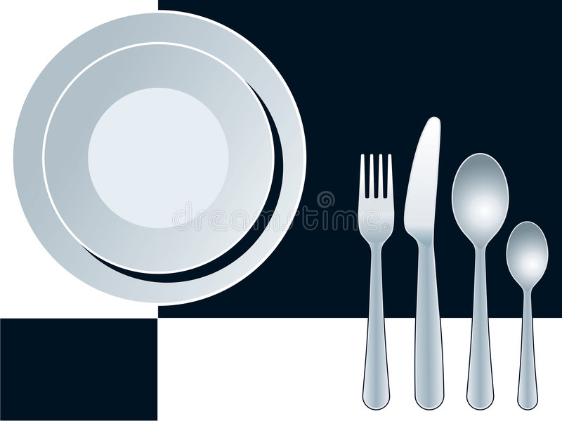 Place setting. With plate, fork, spoon and knife
