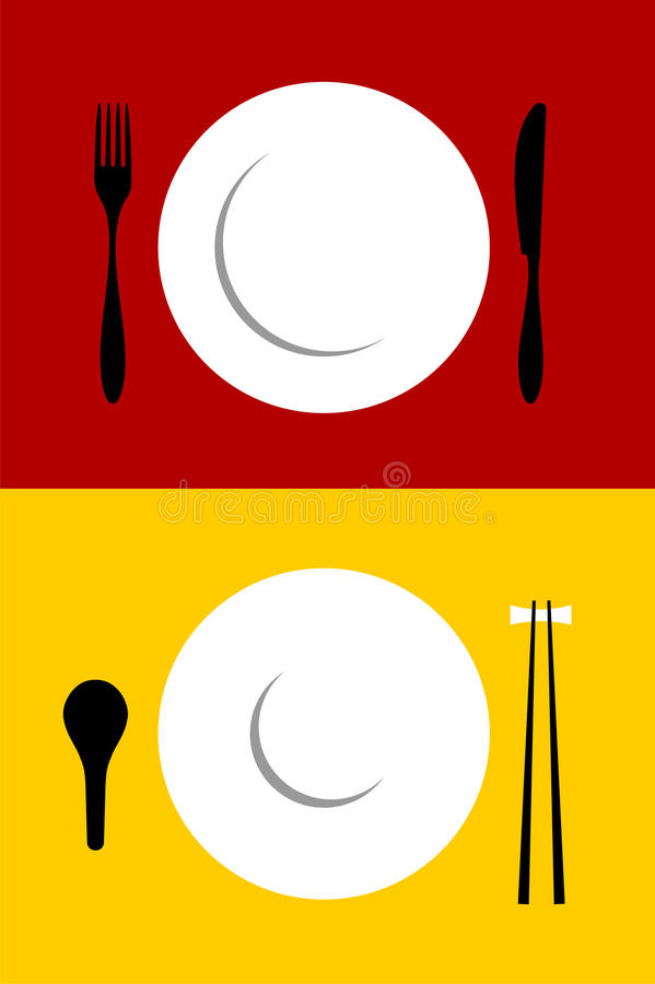 Free Place Setting Backgrounds On Red And Yellow Royalty Free Stock Image - 11159346
