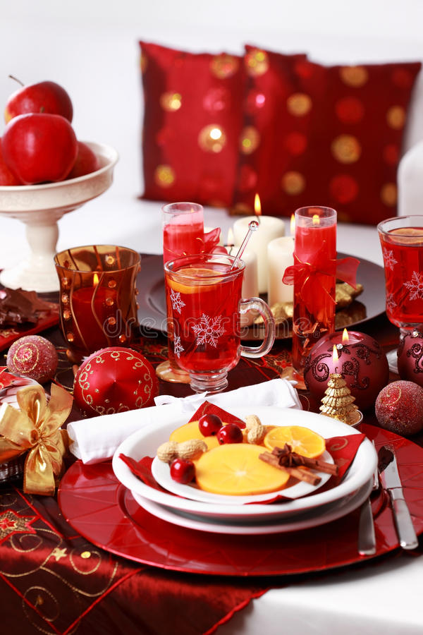 Place setting for Christmas. With fresh fruits royalty free stock photography