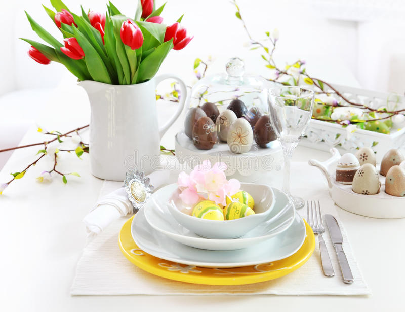 Place Setting For Easter Stock Images