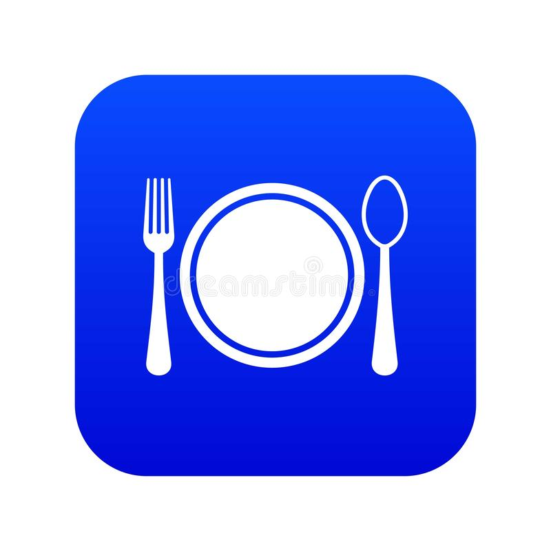 Place setting with plate,spoon and fork icon digital blue royalty free illustration
