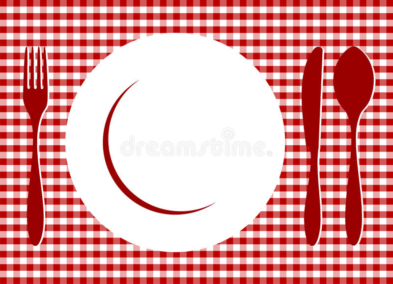 Place Setting on red tablecloth. Place Setting. Plate, spoon, fork, knife and plate on red cross-weave gingham tiles tablecloth. Food, restaurant, menu design