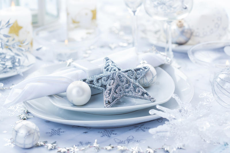 Place setting in silver for Christmas stock image