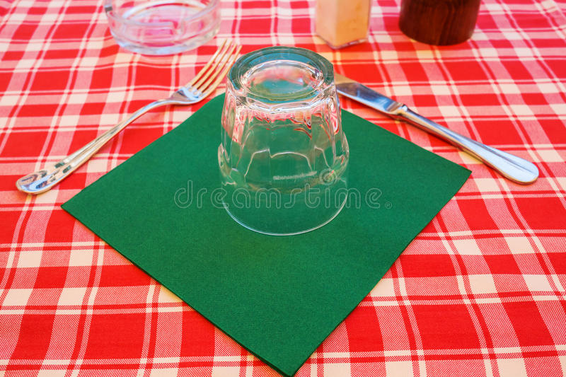 Place setting on a table of an Italian street restaurant stock photo