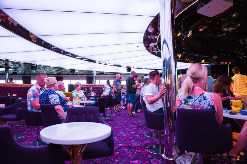 Place Ship Disco deck. Latvia. Lights, disco music and peoples. stock images