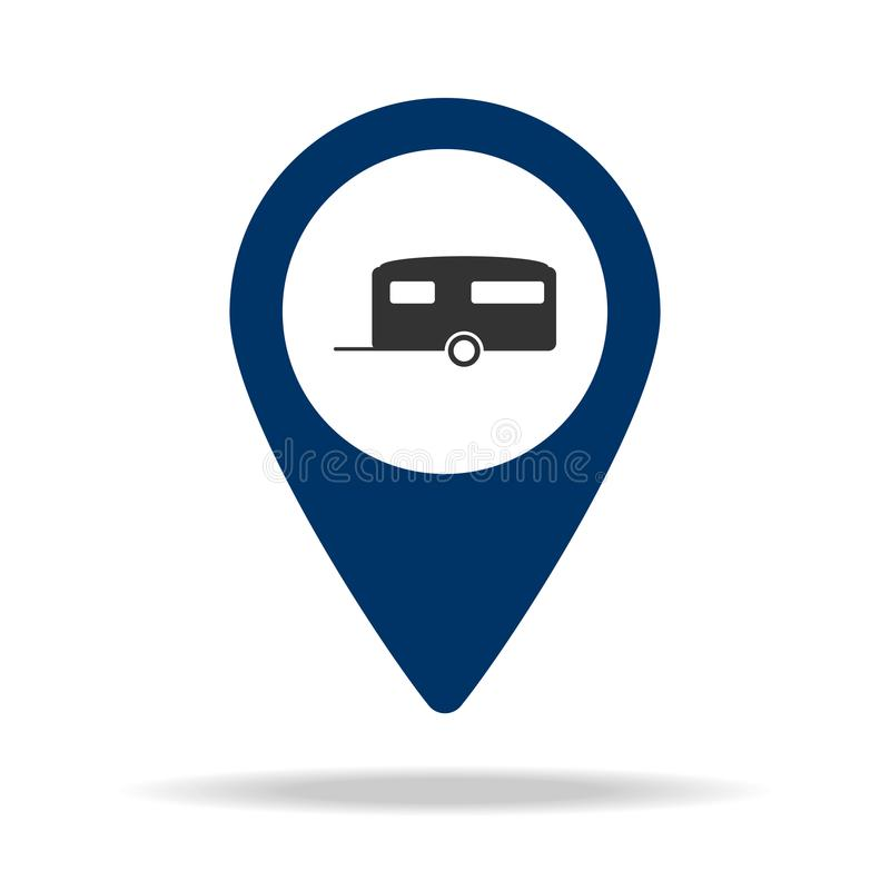 place for trailers in blue map pin icon. Element of map point for mobile concept and web apps. Icon for website design and develop royalty free illustration