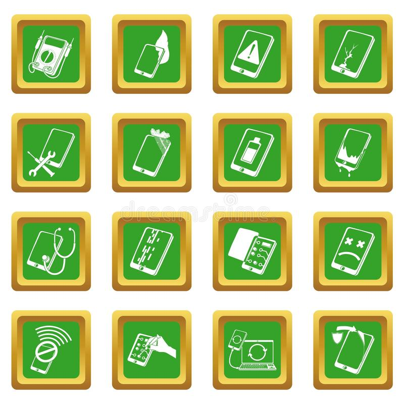Place verte réglée par icônes de difficulté de téléphones de réparation illustration stock