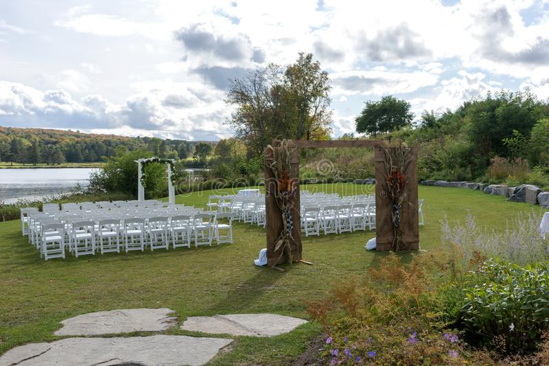 Place for wedding ceremony at the Lakeshore royalty free stock photo