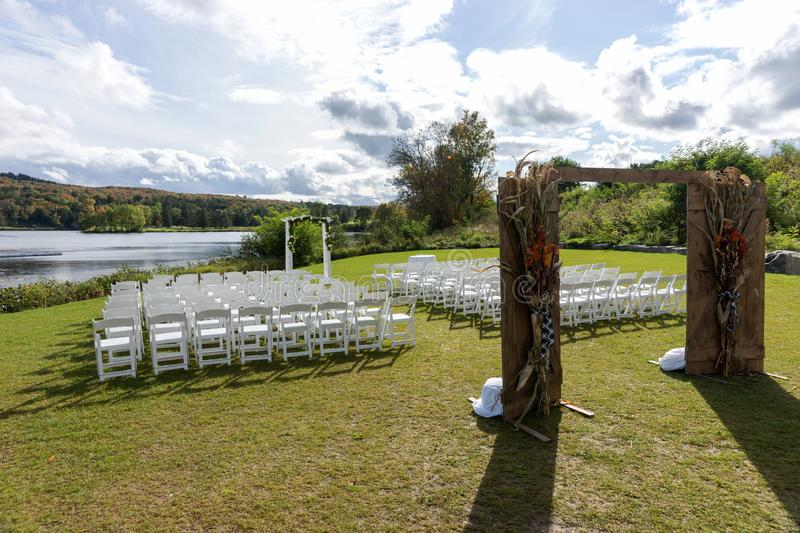 Place for wedding ceremony at the Lakeshore stock image