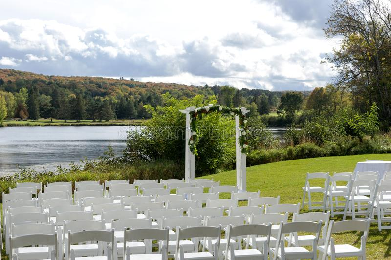 Place for wedding ceremony at the Lakeshore stock photo