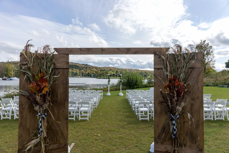 Place for wedding ceremony at the Lakeshore royalty free stock images