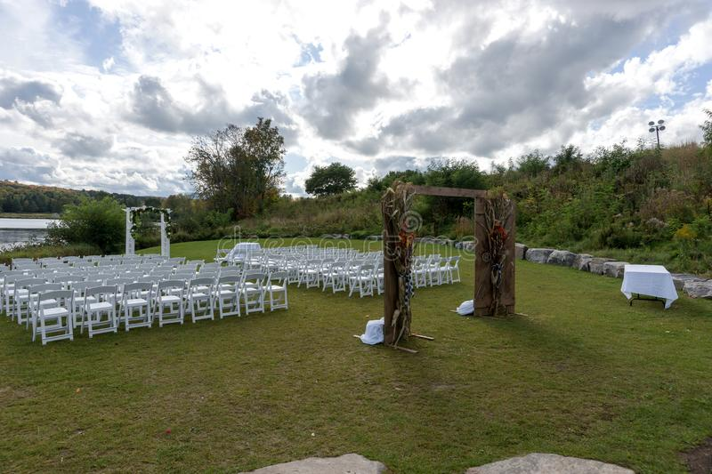 Place for wedding ceremony at the Lakeshore royalty free stock photos