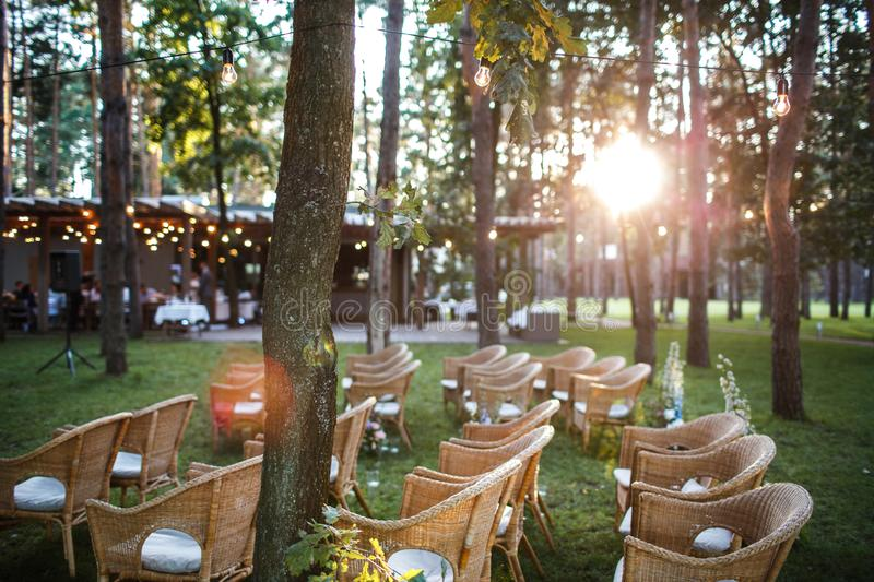 Place of the wedding ceremony at sunset in the open air stock images