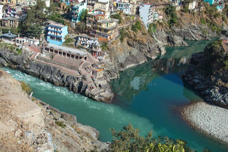 Place where river alaknanda and Bhagirathi meet to form holy ganga, Devprayag mean meeting point of deva. Place where river alaknanda and Bhagirathi meet to form royalty free stock photo