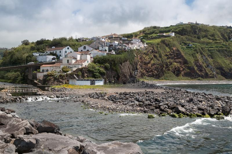 River flowing to the ocean, Povoacao, Sao Miguel stock photo