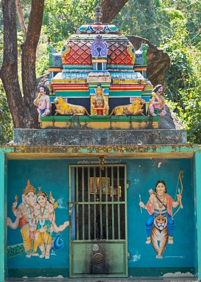 Place of worship beside an Indian road stock image