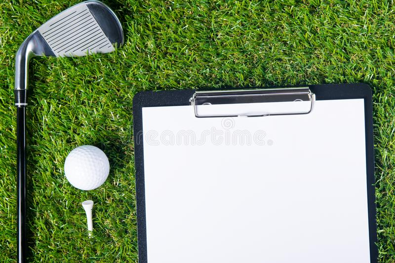 The place for writing the results in the golf on the lawn stock image