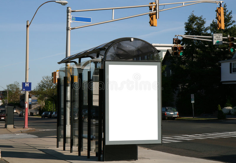 Place your ad on a bus shelter stock photos