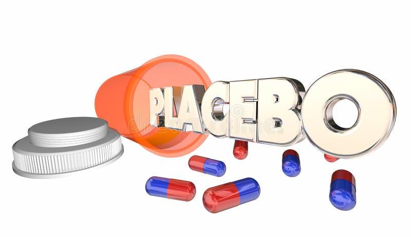 Placebo-gefälschte Medizin-falsches Heilungs-Flaschen-Wort lizenzfreie abbildung