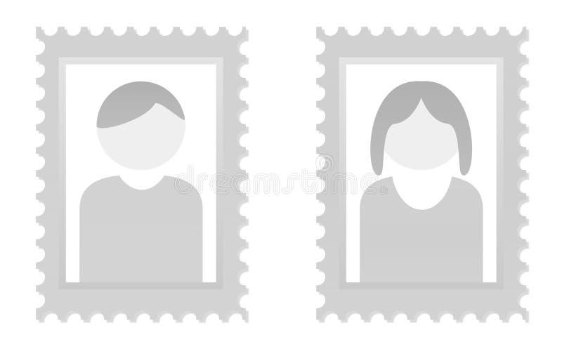 Placeholder para el hombre y la mujer ilustración del vector