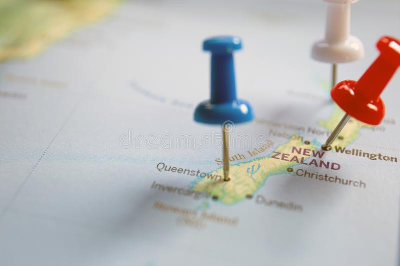 Placemark on the map, New Zealand travel planning royalty free stock image