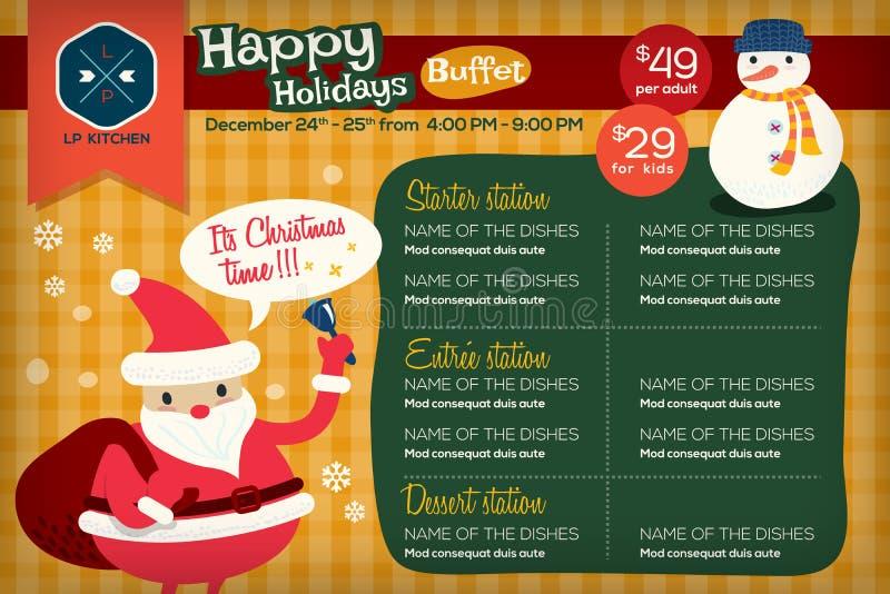 Placemat coloré mignon de menu de restaurant avec Noël de vacances illustration stock