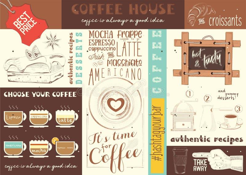 Placemat de Chambre de Coffe illustration stock