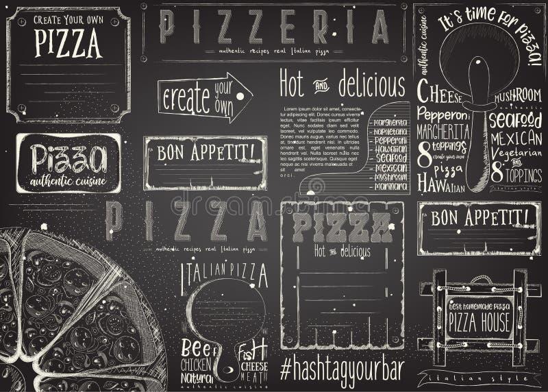 Placemat för pizzeria royaltyfri illustrationer