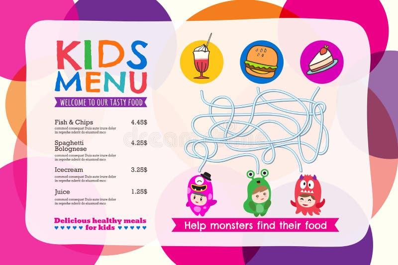 Placemat variopinto sveglio del menu del pasto dei bambini con il fondo del cerchio illustrazione vettoriale
