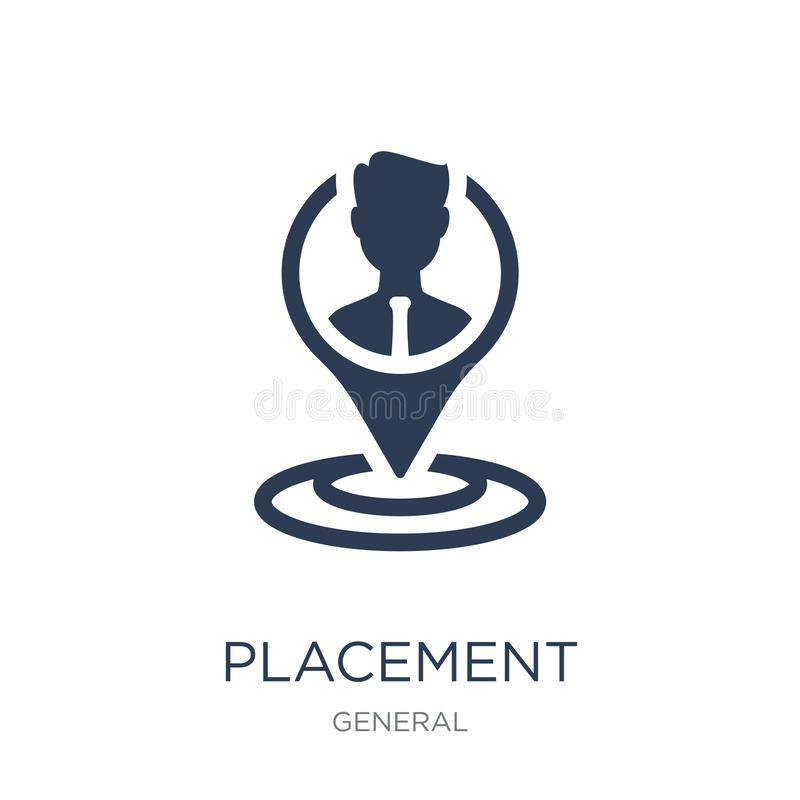 placement icon. Trendy flat vector placement icon on white background from General collection royalty free illustration