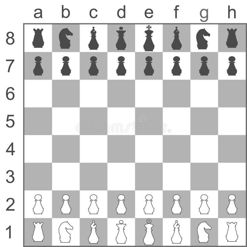 Placement of pieces on a chess Board stock images