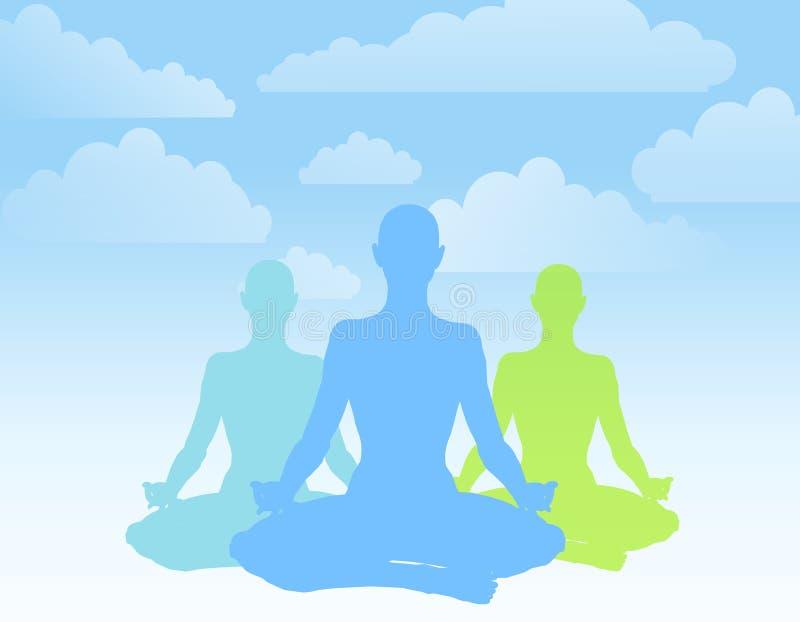placera silhouettes som sitter yoga stock illustrationer