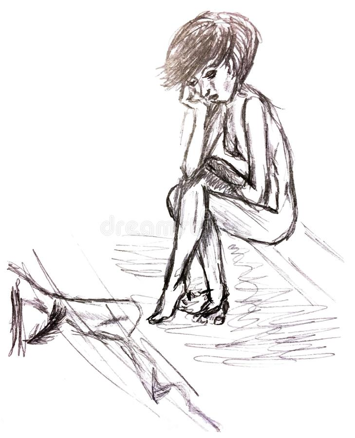 Placerad flicka med en ledsen framsida som ser bilden under royaltyfri illustrationer
