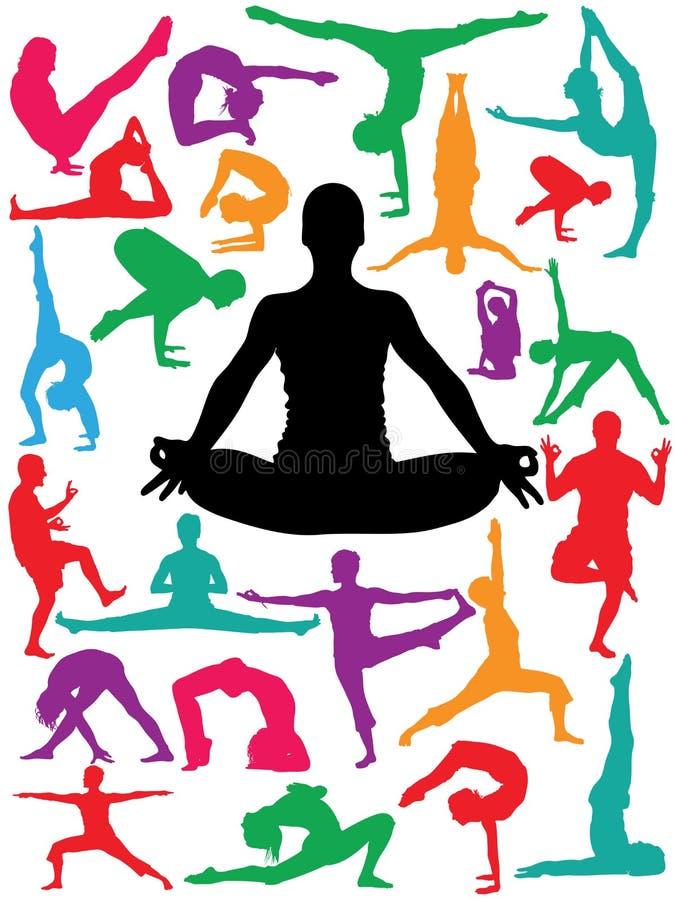 placerar yoga royaltyfri illustrationer