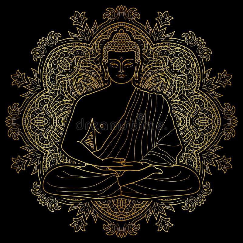 Placerat meditera guld- Buddha vektor illustrationer