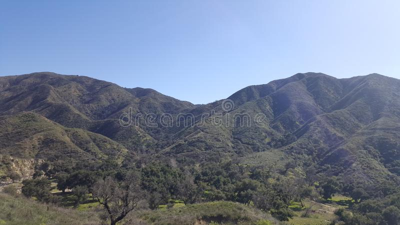 Placerita Canyon on a bright sunny day. Lush and green after weeks of rain. stock photography