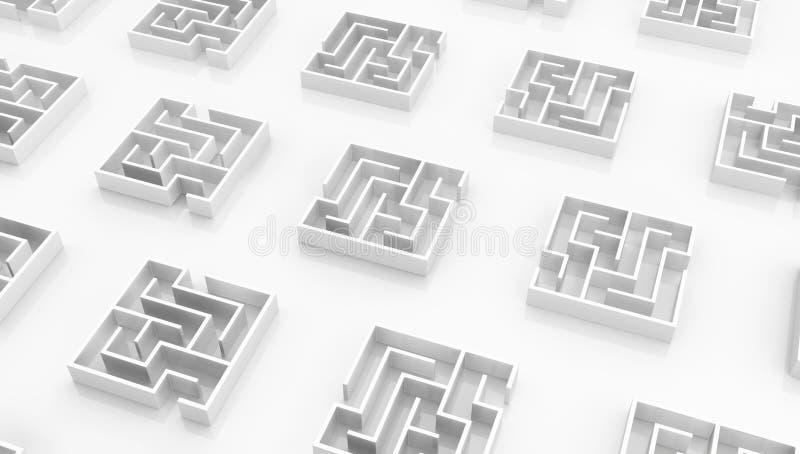 Places blanches de labyrinthe petites illustration de vecteur