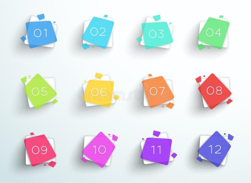 Places colorées d'abrégé sur gros point noir de nombre 1 à vecteur 12 illustration stock