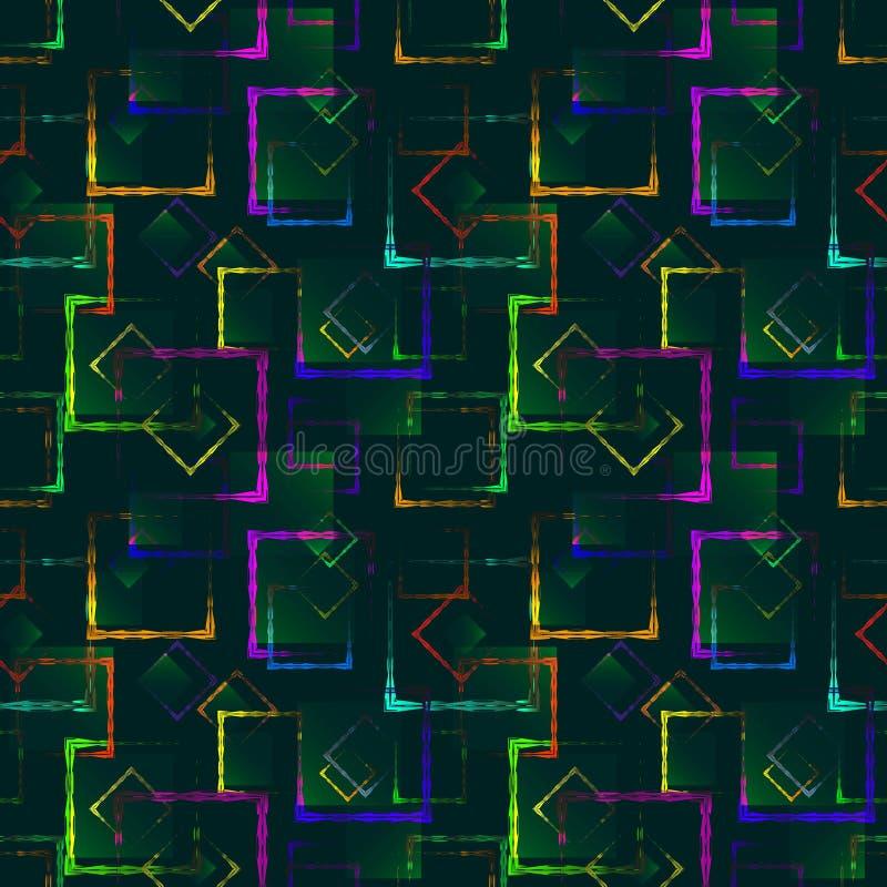 Places découpées colorées lumineuses et losanges au néon pour un fond ou un modèle bleu abstrait illustration libre de droits