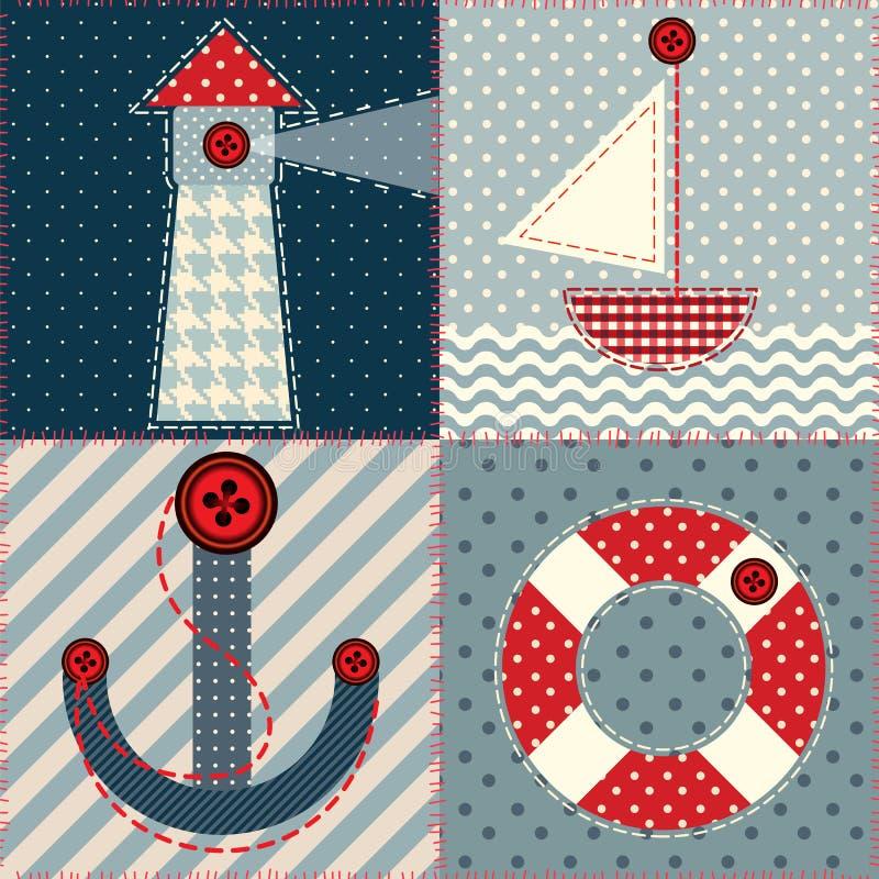 Places de patchwork dans un style marin illustration de vecteur