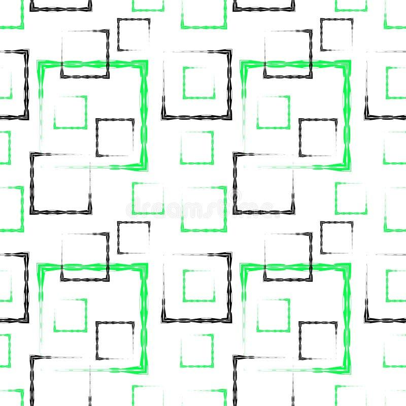 Places et cadres découpés verts et noirs pour un fond ou un modèle blanc abstrait illustration de vecteur