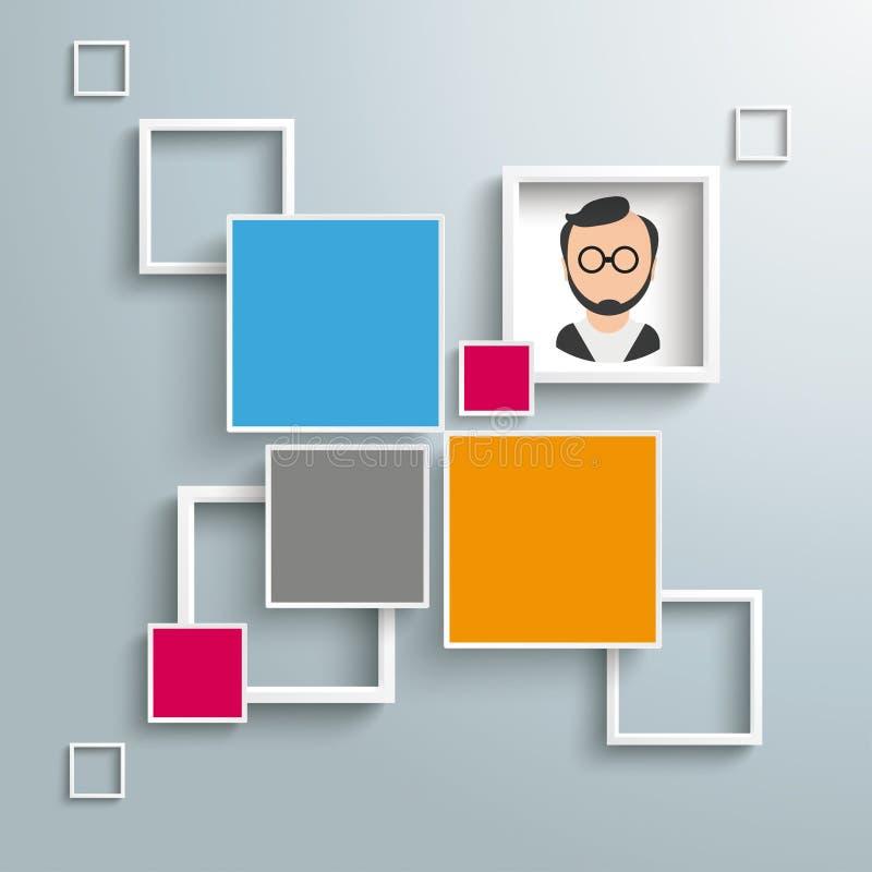 Places et homme d'options de la conception 4 de cadres illustration stock