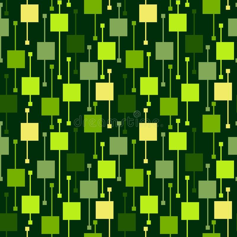Places et lignes lumineuses multicolores géométriques simples sur le fond vert Modèles sans couture de vecteur d'abrégé sur natur illustration de vecteur