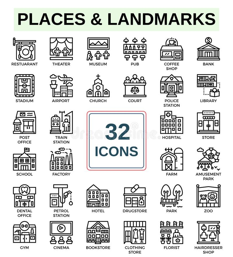 Places and Landmarks of line icon set stock photos