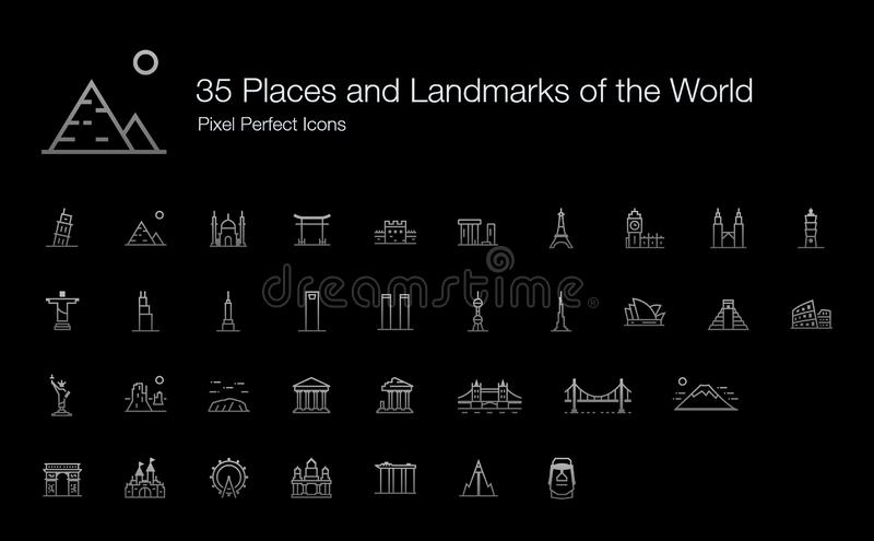 Places and Landmarks of the World Icon Set for Dark Background. 35 Places and Landmarks of the World Pixel Perfect Icons Line Style Shadow Edition. Vector icons stock illustration